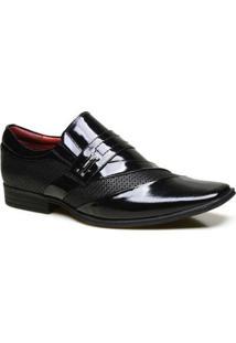 Sapato Social Calvest Em Couro Com Textura Nbo E Verniz - Masculino-Preto+Vermelho