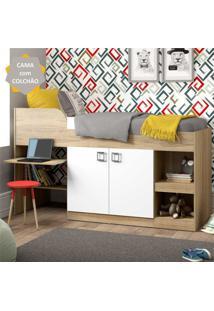 Cama Solteiro Com Colchão Incluso, Armário E Escrivaninha Multimóveis Argila/Branco
