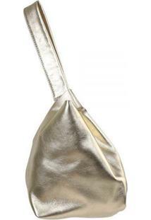 Bolsa De Mão Feminina Mantoan Couro M110 Emília - Feminino-Dourado