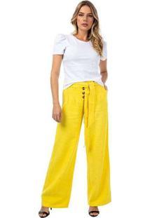 Calça Feminina Com Botões Mb Amarelo