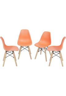 Jogo De Cadeiras Eames Dkr- Laranja & Bege- 4Pã§Sor Design