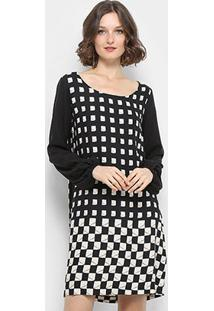 Vestido Curto Mob Manga Longa Estampa Quadrados - Feminino-Preto
