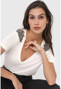 Camiseta Dzarm Aplicações Off-White - Kanui