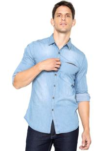Camisa Jeans Broken Rules Recorte Azul
