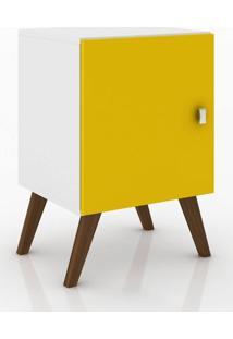 Nicho Retrô C/ Porta Branco/Amarelo - Móvelbento