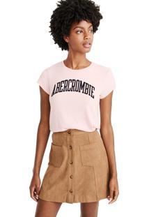 Camiseta Manga Curta Abercrombie Gráfica Rosa