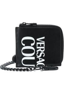 Versace Jeans Couture Carteira Com Zíper E Estampa De Logo - Preto
