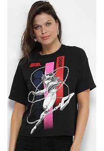 Camiseta Ellus 2Nd Floor Cavaleiros Do Zodíaco Shun Feminina - Feminino-Preto