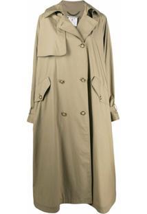 Stella Mccartney Trench Coat Oversized Com Abotoamento Duplo - Verde