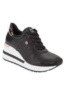 Tênis Feminino Anabela Sneaker Via Marte Plataforma 21-1203 Dourado