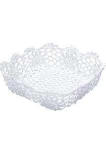 Cesta Quadrada De Plástico Branca Crochê Alta Ii 6344 Lyor Classic