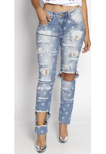 Jeans Boyfriend Estrelas - Azul - Lança Perfumelança Perfume