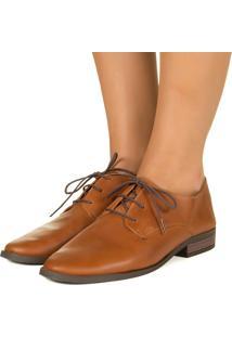 Sapato Taquilla Oxford Com Cadarço Caramelo