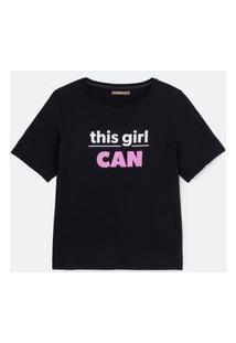 Camiseta De Algodão Com Estampa Curve E Plus Size Preto