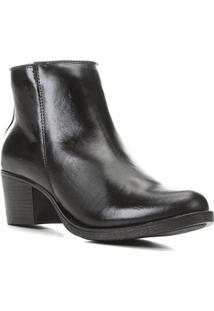 Bota Couro Shoestock Cano Curto Salto Comfort Feminina - Feminino-Preto