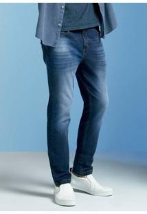 Calça Jeans Masculina Skinny Em Moletom Com Lavação