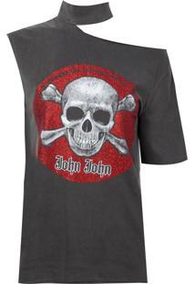 Camiseta John John Red Skull Malha Algodão Cinza Feminina (Cinza Medio, P)