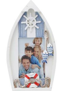Porta Retrato Formato Barco 10X15 - Prestige - Branco / Azul