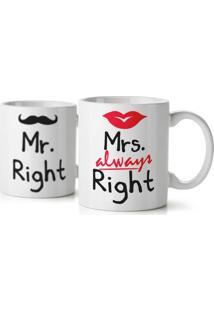 Jogo De Canecas Casados Mr. And Mrs. Right Geek10 - Branco