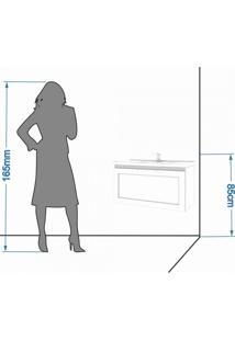 Gabinete De Banheiro 1 Porta Vidro Reflecta Basculante 1 Gaveta 1 Cuba 79Cm Hibisco Mgm Móveis Amêndoa/Branco