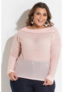 8a090a57020d ... Blusa Plus Size De Renda Quintess Feminina - Feminino-Rosa