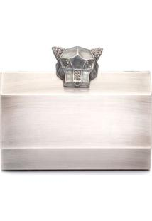 Clutch Metal Tigre Animale - Prata
