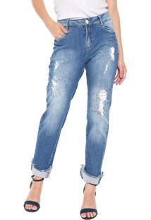 Calça Jeans Morena Rosa Slim Giane Azul