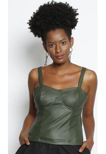 Blusa Cropped Com ZãPer- Verde Militar- Milioremiliore