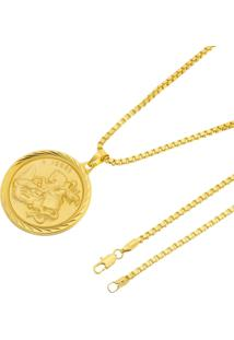 Pingente São Jorge + Corrente Veneziana 3Mm Tudo Jóias Folheada A Ouro 18K Dourada