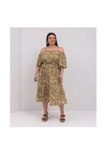 Vestido Midi Estampa Jardinagem Curve & Plus Size | Ashua Curve E Plus Size | Verde | Eg