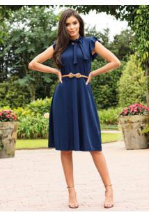 Vestido Moda Evangélica Marinho Com Gola Laço