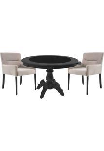 Mesa De Jogos Carteado Montreal Redonda Tampo Reversível Preto Com 2 Cadeiras Vicenza Nude - Gran Belo
