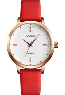 Relógio Skmei Analógico 1457 - Vermelho E Rosê