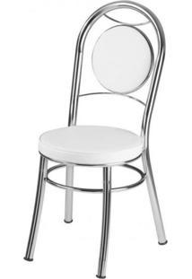 Cadeira Para Cozinha Em Aço Ca-945 Móveis Brastubo Cromado/Branco