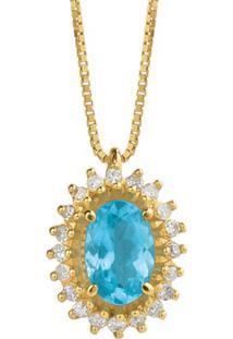 Pingente Ouro Amarelo Apatita E Diamantes