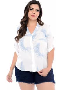 Camisa Prelúdio Plus Size Branco Com Folhas Azuis-54