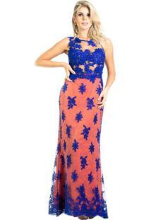 Vestido De Festa Longo Vazado Tule Renda Sereia Azul E Laranja M.Rodarte