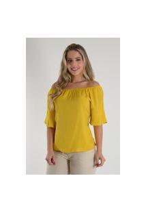 Blusa Mamorena Ciganinha Com Babado Transpassado Amarelo