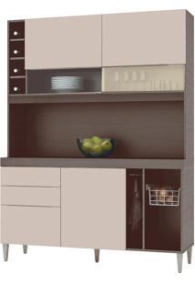 Conjunto Armário Cozinha Pratice Teka/Ártico 03 Portas E 1 Adega - Incorplac