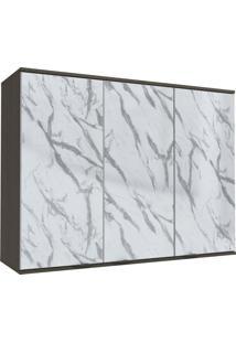 Armário Aéreo Cozinha 3 Portas Com Vidro Pedra Onix/Steel - Kappesberg