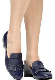 Mocassim Couro Shoestock Franja Apliques Feminina - Feminino