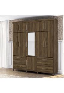 Guarda Roupa Casal Com Espelho 11 Portas 6 Gavetas Triton Plus Albatroz Móveis Cedro