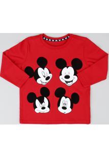 Camiseta Infantil Mickey Manga Longa Gola Careca Vermelha