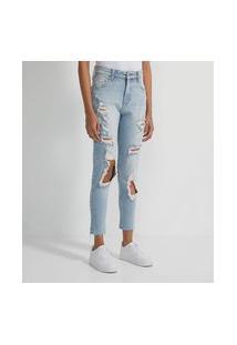 Calça Jeans Boyfriend Slim Com Puídos   Blue Steel   Azul   38