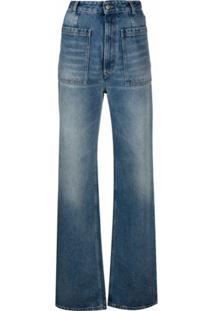 Mm6 Maison Margiela Calça Jeans Reta Cintura Alta - Azul