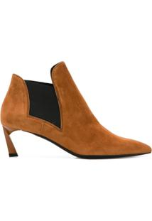 Lanvin Ankle Boot De Couro - Marrom