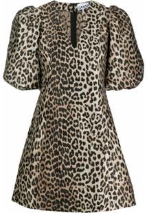 Ganni Vestido Gola V Com Estampa Leopardo - Neutro