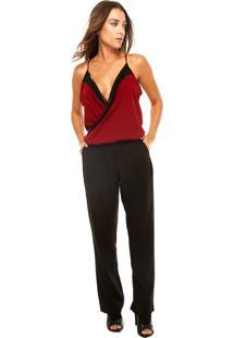 Macacão Calvin Klein Jeans Contrastante Preto/Vermelho