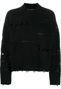 Versace Distressed Knitted Sweater - Preto