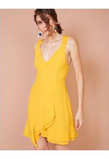 Vestido Curto Saia Transpasse Amarelo / M